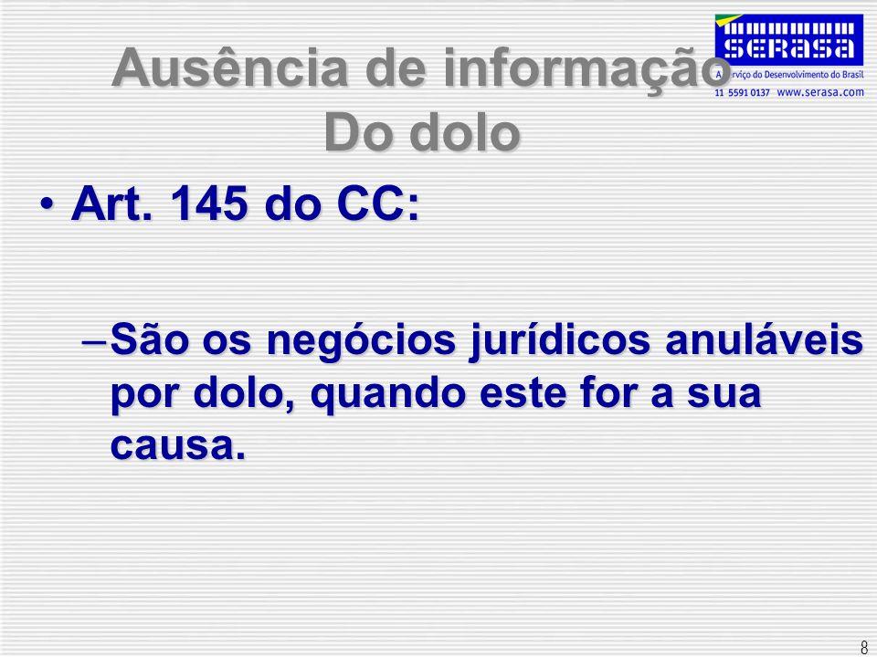 8 Ausência de informação Do dolo Art. 145 do CC:Art. 145 do CC: –São os negócios jurídicos anuláveis por dolo, quando este for a sua causa.