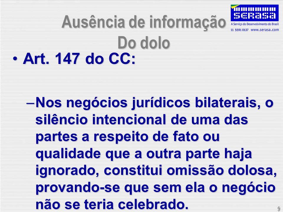 9 Ausência de informação Do dolo Art. 147 do CC:Art. 147 do CC: –Nos negócios jurídicos bilaterais, o silêncio intencional de uma das partes a respeit