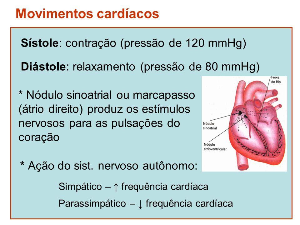 Movimentos cardíacos Sístole: contração (pressão de 120 mmHg) Diástole: relaxamento (pressão de 80 mmHg) * Ação do sist. nervoso autônomo: Simpático –