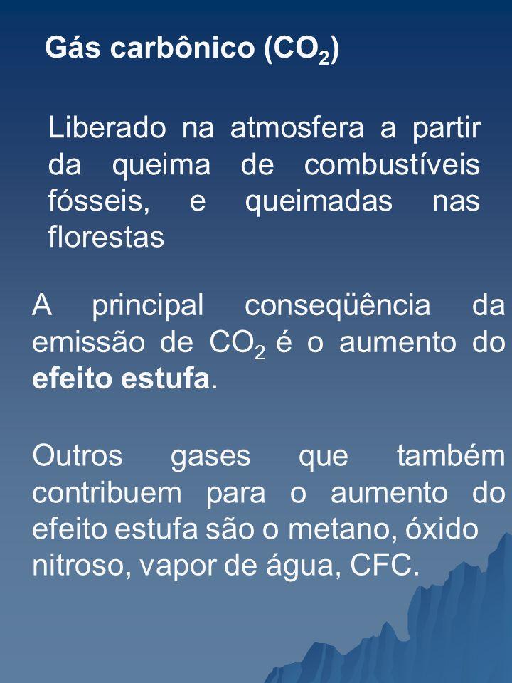 Gás carbônico (CO 2 ) Liberado na atmosfera a partir da queima de combustíveis fósseis, e queimadas nas florestas A principal conseqüência da emissão