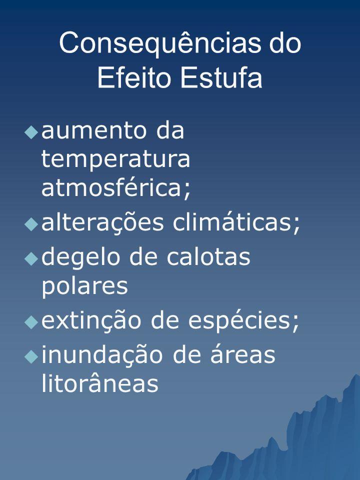 Consequências do Efeito Estufa aumento da temperatura atmosférica; alterações climáticas; degelo de calotas polares extinção de espécies; inundação de