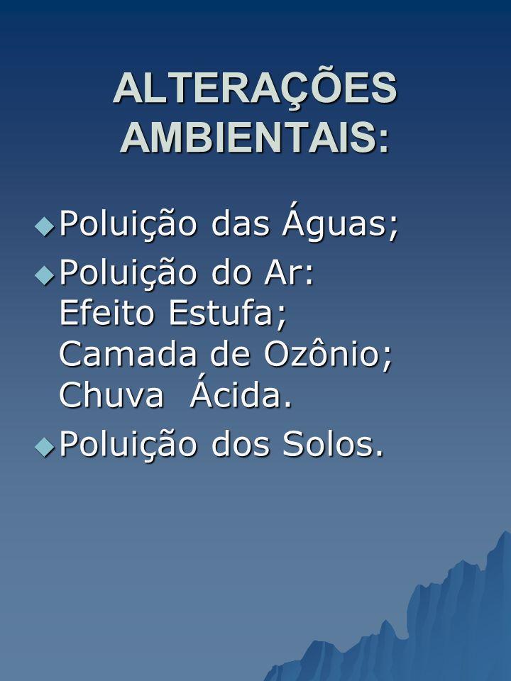 ALTERAÇÕES AMBIENTAIS: Poluição das Águas; Poluição das Águas; Poluição do Ar: Efeito Estufa; Camada de Ozônio; Chuva Ácida. Poluição do Ar: Efeito Es