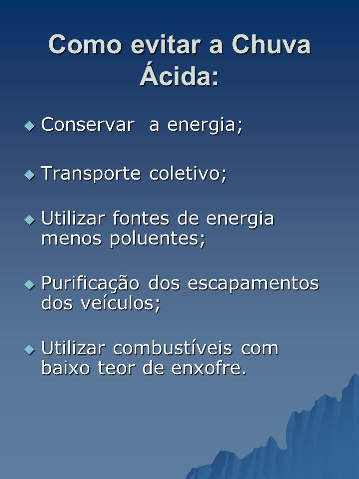 Como evitar a Chuva Ácida: Conservar a energia; Conservar a energia; Transporte coletivo; Transporte coletivo; Utilizar fontes de energia menos poluen