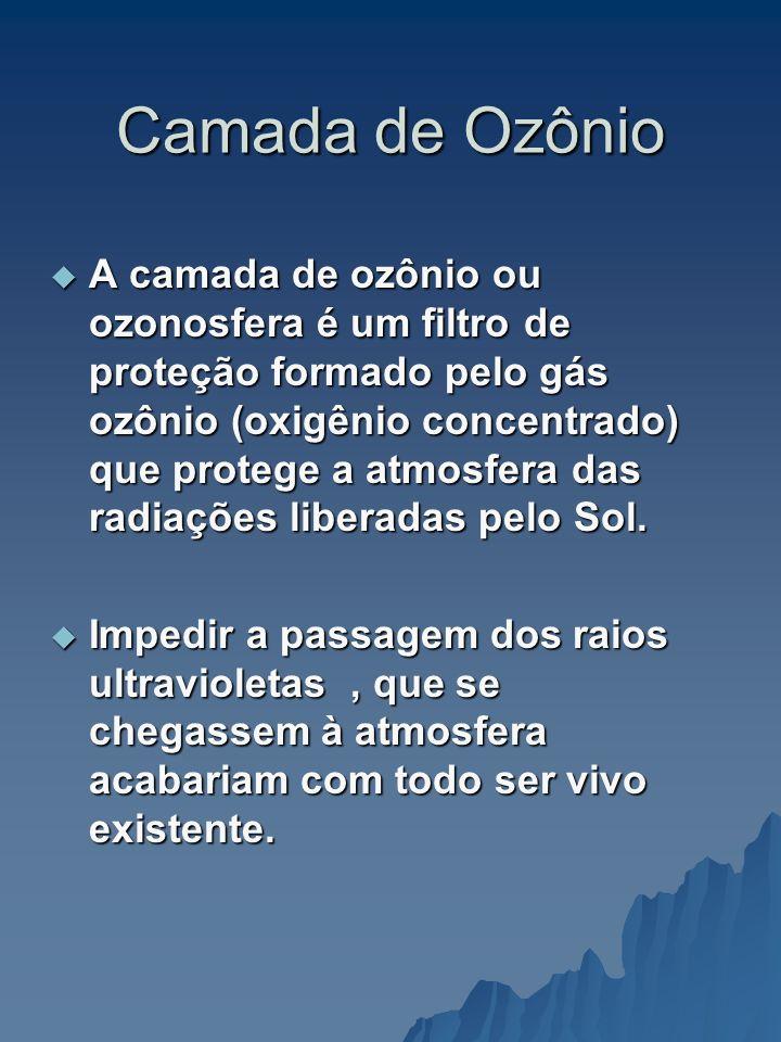 Camada de Ozônio A camada de ozônio ou ozonosfera é um filtro de proteção formado pelo gás ozônio (oxigênio concentrado) que protege a atmosfera das r