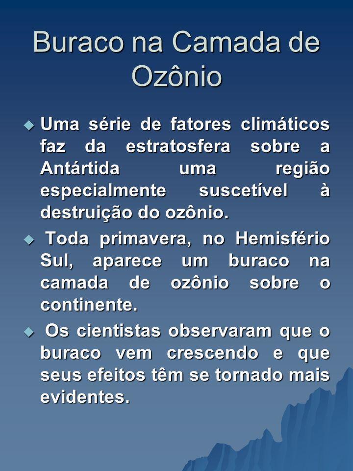 Buraco na Camada de Ozônio Uma série de fatores climáticos faz da estratosfera sobre a Antártida uma região especialmente suscetível à destruição do o