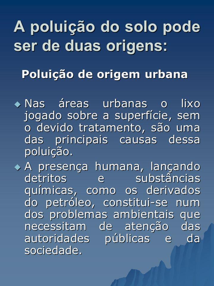A poluição do solo pode ser de duas origens: Poluição de origem urbana Poluição de origem urbana Nas áreas urbanas o lixo jogado sobre a superfície, s