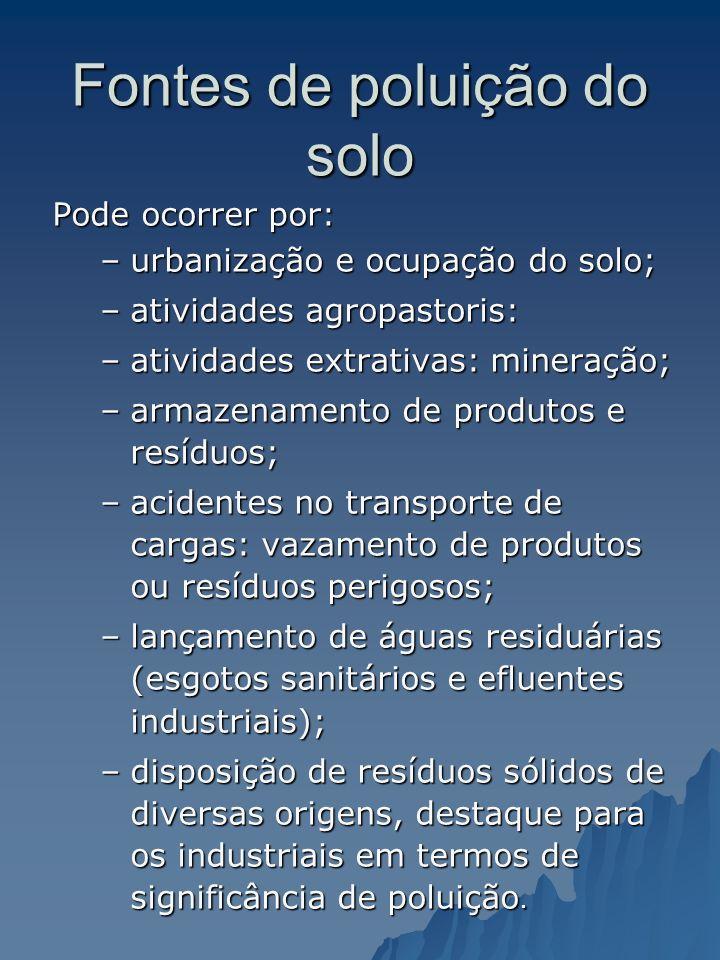 Fontes de poluição do solo Pode ocorrer por: –urbanização e ocupação do solo; –atividades agropastoris: –atividades extrativas: mineração; –armazename