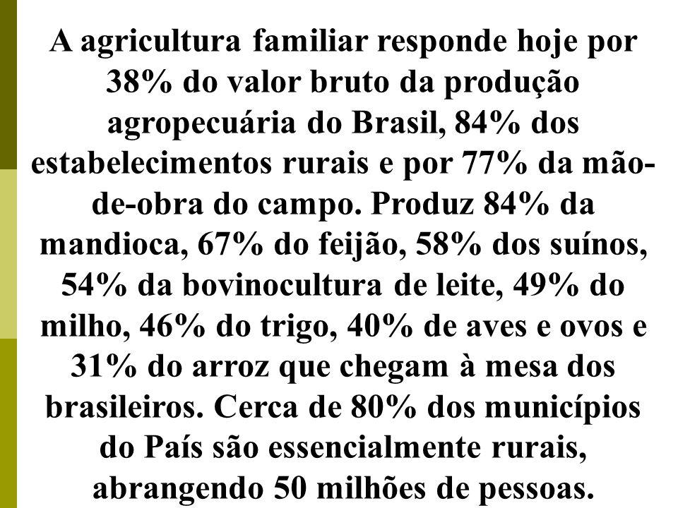 ATENÇÃO Os pequenos proprietários de terras, respondem por mais da metade da produção de alimentos no Brasil. A agricultura familiar responde hoje por