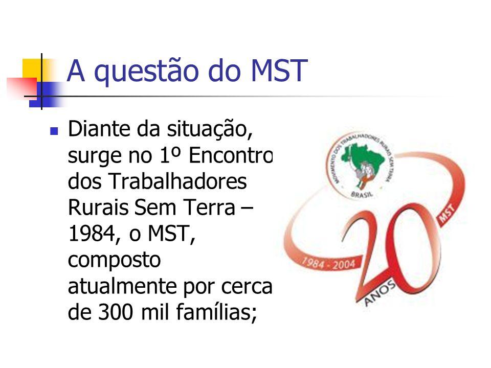 A questão do MST Diante da situação, surge no 1º Encontro dos Trabalhadores Rurais Sem Terra – 1984, o MST, composto atualmente por cerca de 300 mil f