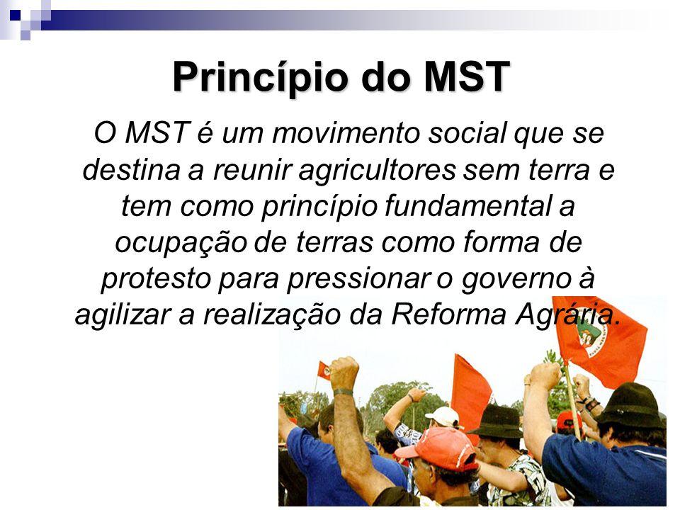 Princípio do MST O MST é um movimento social que se destina a reunir agricultores sem terra e tem como princípio fundamental a ocupação de terras como
