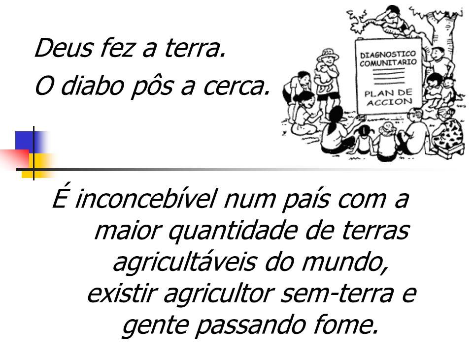 MÁ DISTRIBUIÇÃO DE TERRAS NO BRASIL Tamanho da propriedade % dos estabele- cimentos % da área Menos de 100 ha89,4%20,2% De 101 ha a 1.000 ha9,4%34,8% Mais de 1.000 ha1,2%45,0%