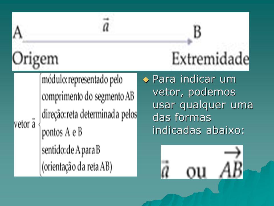 Para indicar um vetor, podemos usar qualquer uma das formas indicadas abaixo: Para indicar um vetor, podemos usar qualquer uma das formas indicadas ab