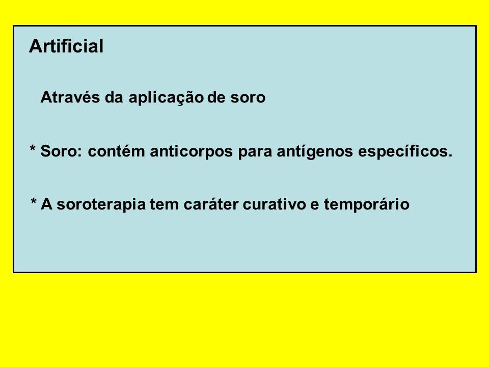 Artificial Através da aplicação de soro * Soro: contém anticorpos para antígenos específicos. * A soroterapia tem caráter curativo e temporário