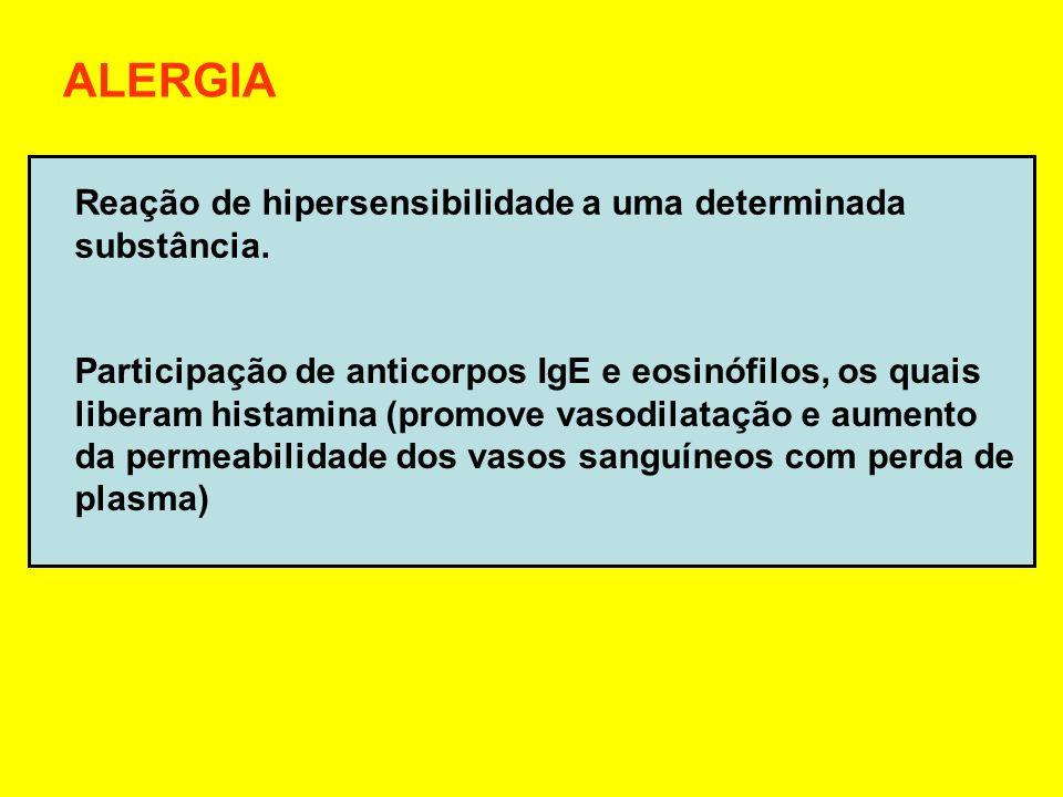 Anafilaxia Reações alérgicas espalhadas pelo corpo, com inchaços generalizados, constrição da garganta e das vias respiratórias Deve-se aplicar anti-histamínico e adrenalina Urticária Reação alérgica localizada Aplicação de anti-histamínico