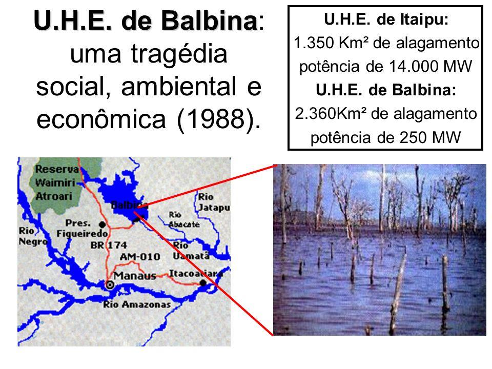 U.H.E. de Balbina U.H.E. de Balbina: uma tragédia social, ambiental e econômica (1988). U.H.E. de Itaipu: 1.350 Km² de alagamento potência de 14.000 M