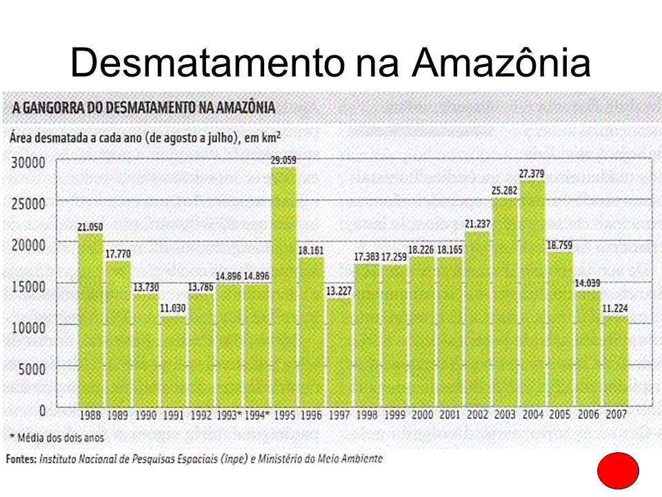 Desmatamento na Amazônia A área desmatada da Amazônia Legal é de 700 mil Km² (17% da área original), equivalente aos estados de Minas Gerais, Rio de J