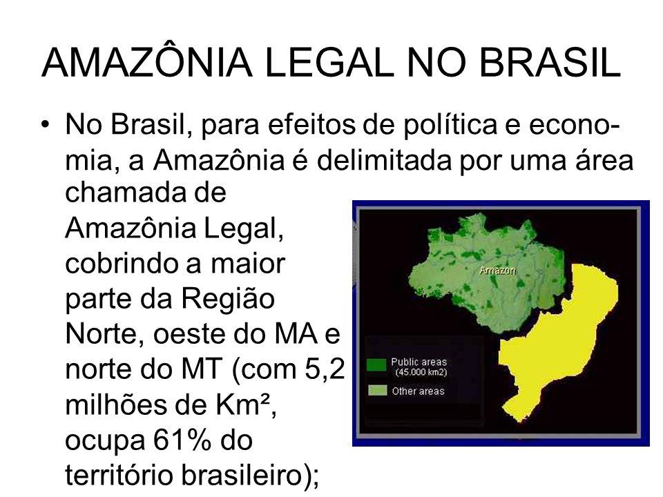 AMAZÔNIA LEGAL NO BRASIL No Brasil, para efeitos de política e econo- mia, a Amazônia é delimitada por uma área chamada de Amazônia Legal, cobrindo a maior parte da Região Norte, oeste do MA e norte do MT (com 5,2 milhões de Km², ocupa 61% do território brasileiro);