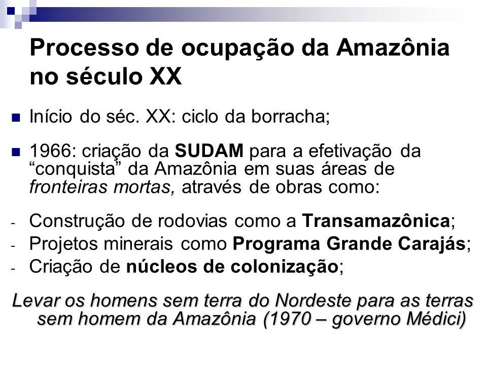 Processo de ocupação da Amazônia no século XX Início do séc. XX: ciclo da borracha; 1966: criação da SUDAM para a efetivação da conquista da Amazônia