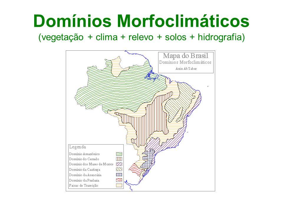 Domínios Morfoclimáticos (vegetação + clima + relevo + solos + hidrografia)
