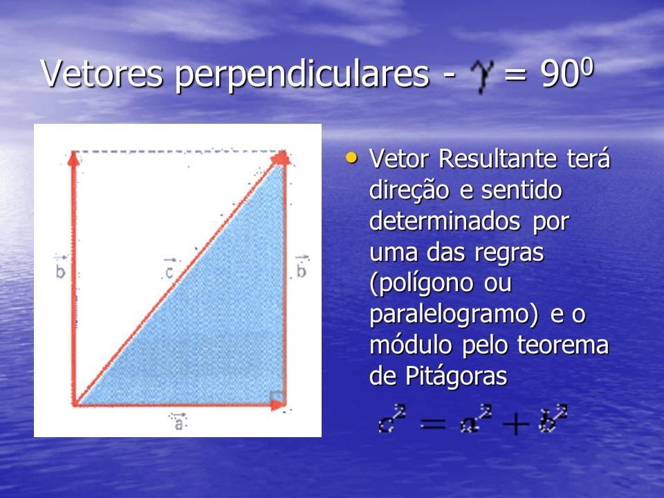 Vetores perpendiculares - = 90 0 Vetor Resultante terá direção e sentido determinados por uma das regras (polígono ou paralelogramo) e o módulo pelo t