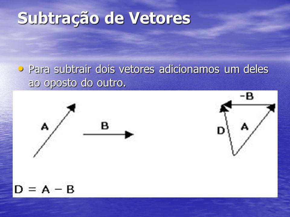 Subtração de Vetores Para subtrair dois vetores adicionamos um deles ao oposto do outro. Para subtrair dois vetores adicionamos um deles ao oposto do
