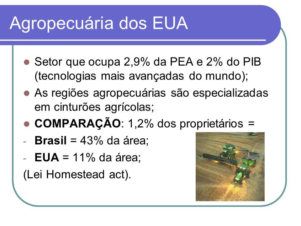 Agropecuária dos EUA Setor que ocupa 2,9% da PEA e 2% do PIB (tecnologias mais avançadas do mundo); As regiões agropecuárias são especializadas em cin