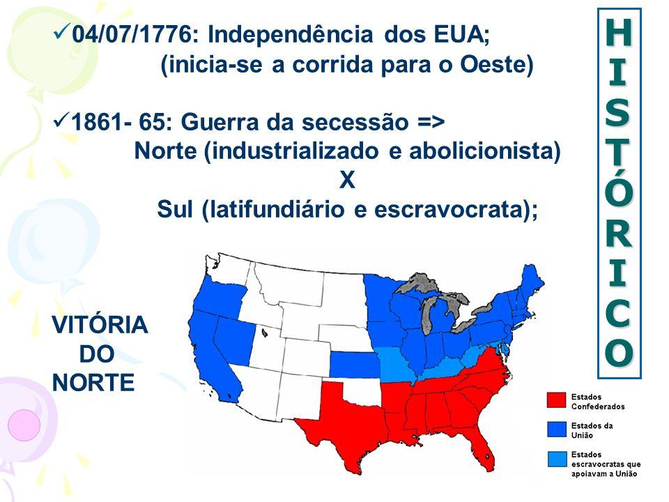 HISTÓRICOHISTÓRICOHISTÓRICOHISTÓRICO 04/07/1776: Independência dos EUA; (inicia-se a corrida para o Oeste) 1861- 65: Guerra da secessão => Norte (indu