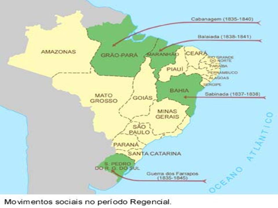 Cabanagem – Pará 1835-1840 Caráter popular Raízes na guerra de independência Tensões constantes entre população de origem humilde e pessoas abastadas Janeiro 1835 Formação de um governo revolucionário em Belém Algum apoio de proprietários