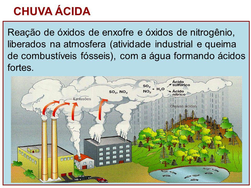 CHUVA ÁCIDA Reação de óxidos de enxofre e óxidos de nitrogênio, liberados na atmosfera (atividade industrial e queima de combustíveis fósseis), com a