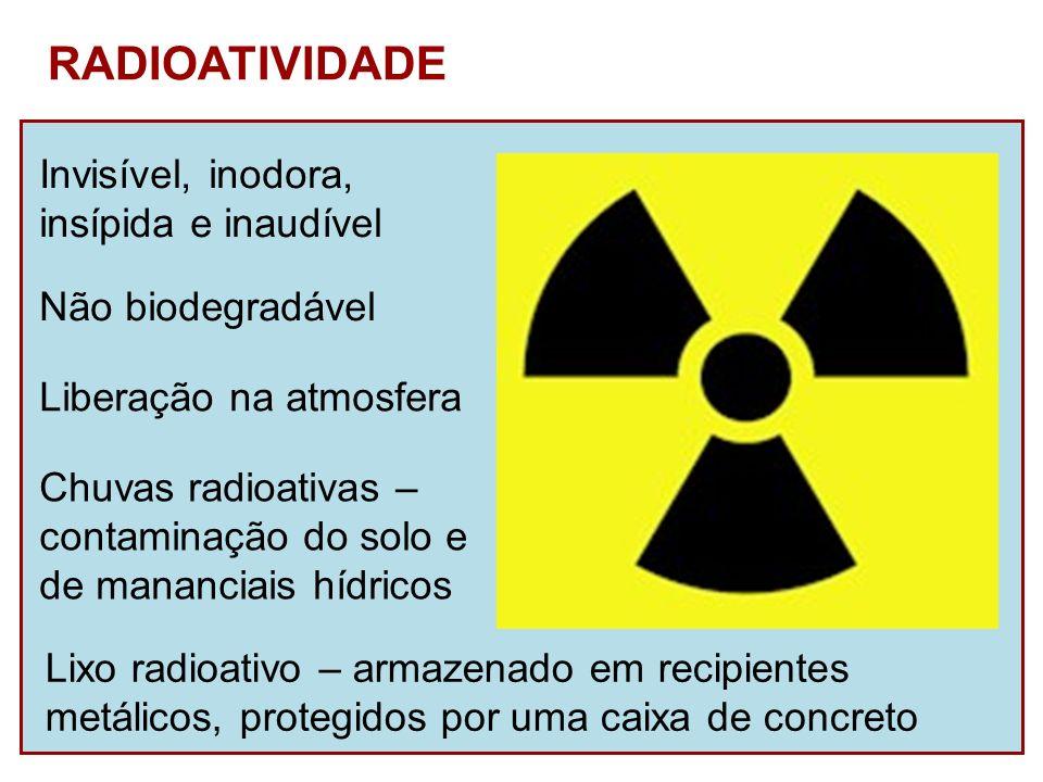 RADIOATIVIDADE Não biodegradável Liberação na atmosfera Chuvas radioativas – contaminação do solo e de mananciais hídricos Invisível, inodora, insípid