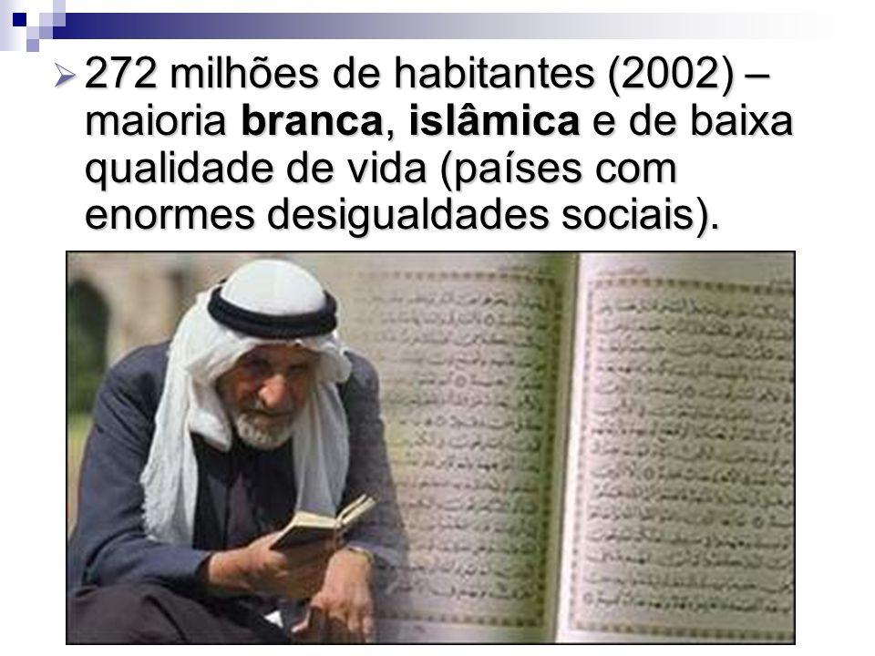 272 milhões de habitantes (2002) – maioria branca, islâmica e de baixa qualidade de vida (países com enormes desigualdades sociais). 272 milhões de ha
