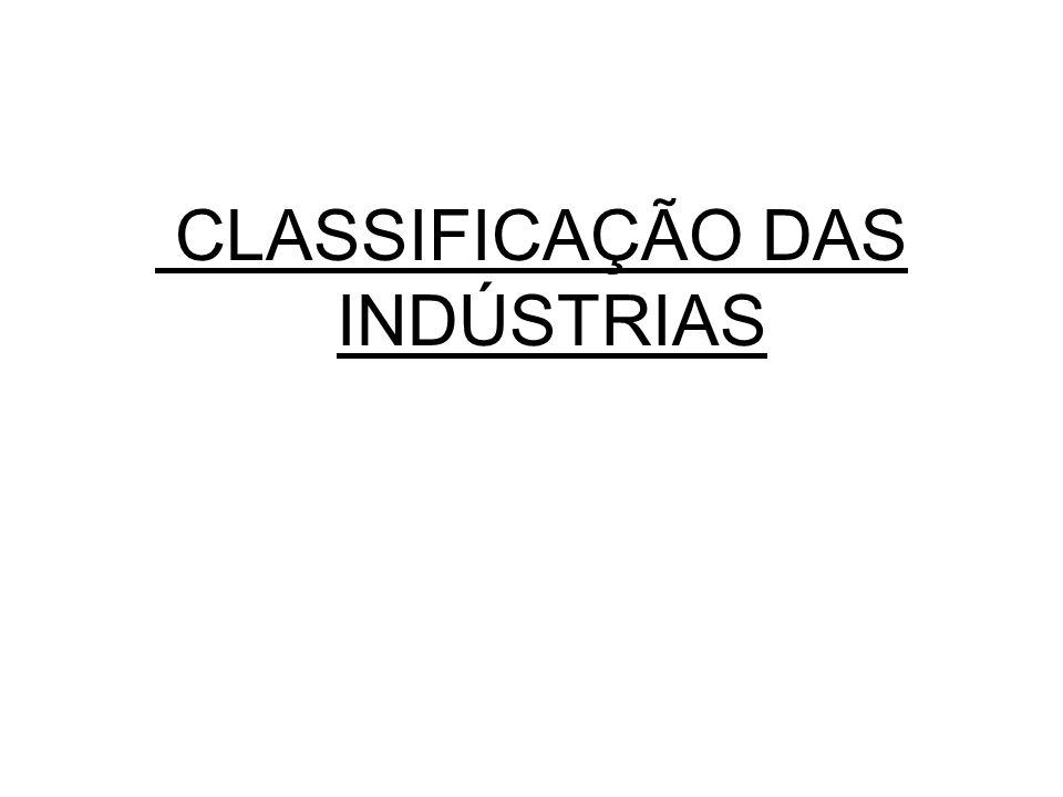 CLASSIFICAÇÃO DAS INDÚSTRIAS