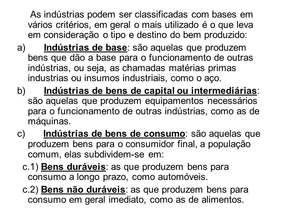 As indústrias podem ser classificadas com bases em vários critérios, em geral o mais utilizado é o que leva em consideração o tipo e destino do bem pr
