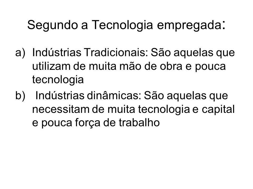 Segundo a Tecnologia empregada : a)Indústrias Tradicionais: São aquelas que utilizam de muita mão de obra e pouca tecnologia b) Indústrias dinâmicas: