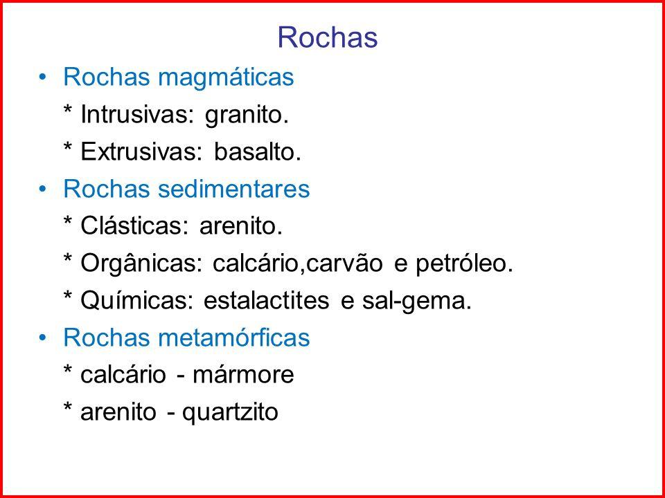Rochas Rochas magmáticas * Intrusivas: granito. * Extrusivas: basalto. Rochas sedimentares * Clásticas: arenito. * Orgânicas: calcário,carvão e petról