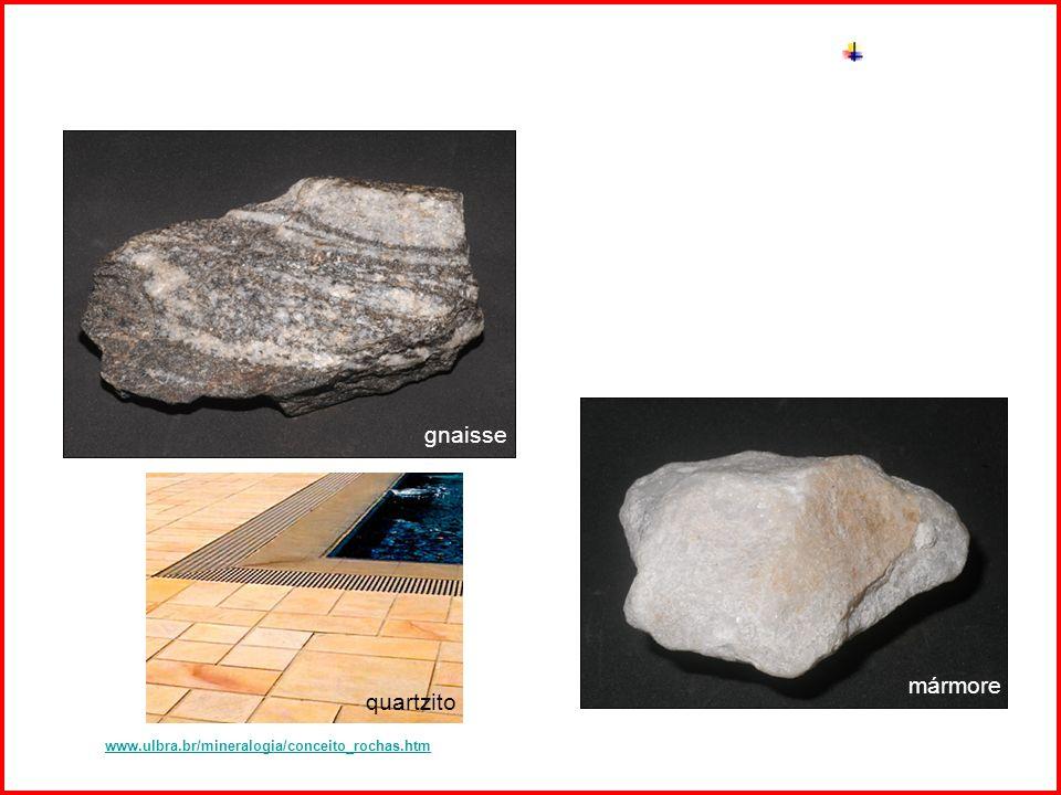 Intemperismo gnaisse mármore Fonte: www.ulbra.br/mineralogia/conceito_rochas.htmwww.ulbra.br/mineralogia/conceito_rochas.htm quartzito
