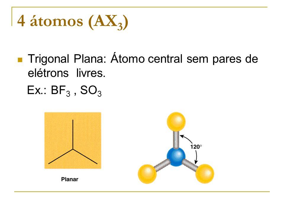 4 átomos (AX 3 ) Trigonal Plana: Átomo central sem pares de elétrons livres. Ex.: BF 3, SO 3