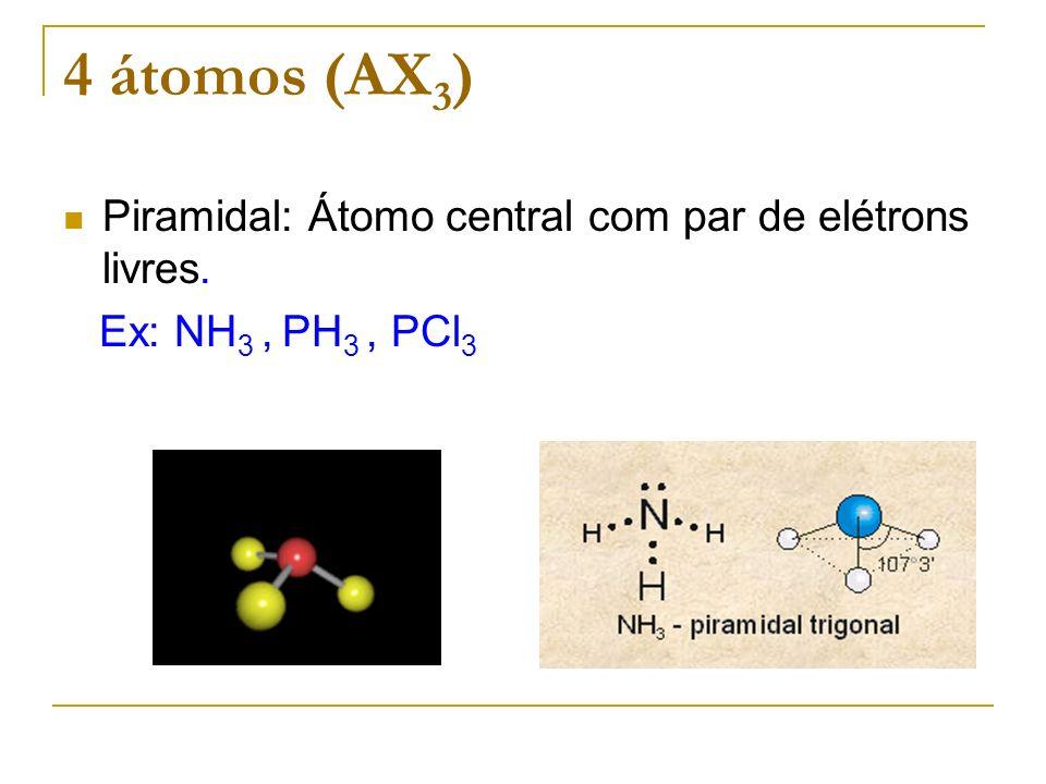 4 átomos (AX 3 ) Piramidal: Átomo central com par de elétrons livres. Ex: NH 3, PH 3, PCl 3