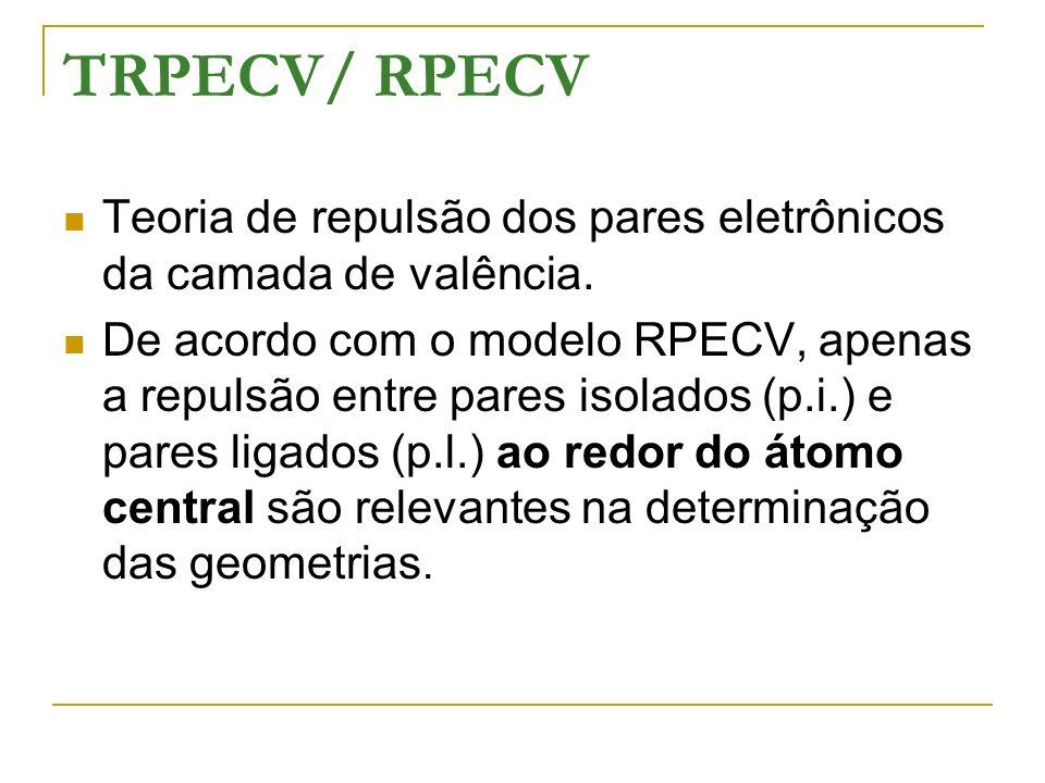 TRPECV/ RPECV Teoria de repulsão dos pares eletrônicos da camada de valência. De acordo com o modelo RPECV, apenas a repulsão entre pares isolados (p.