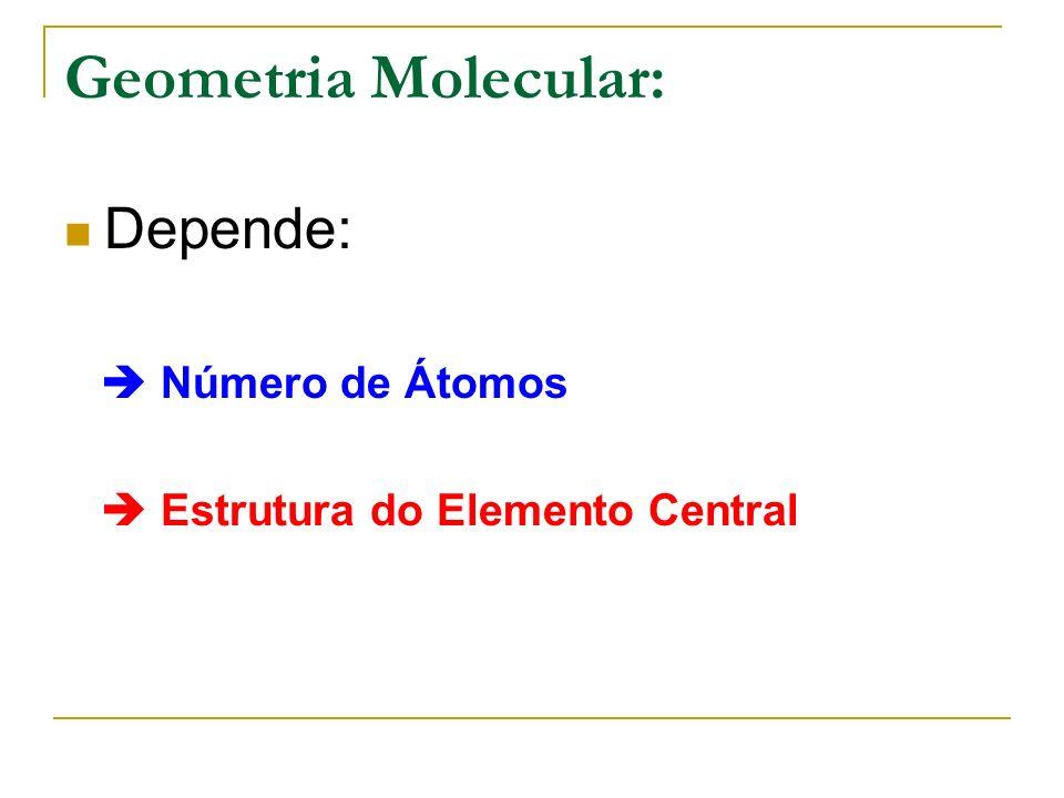 Geometria Molecular: Depende: Número de Átomos Estrutura do Elemento Central