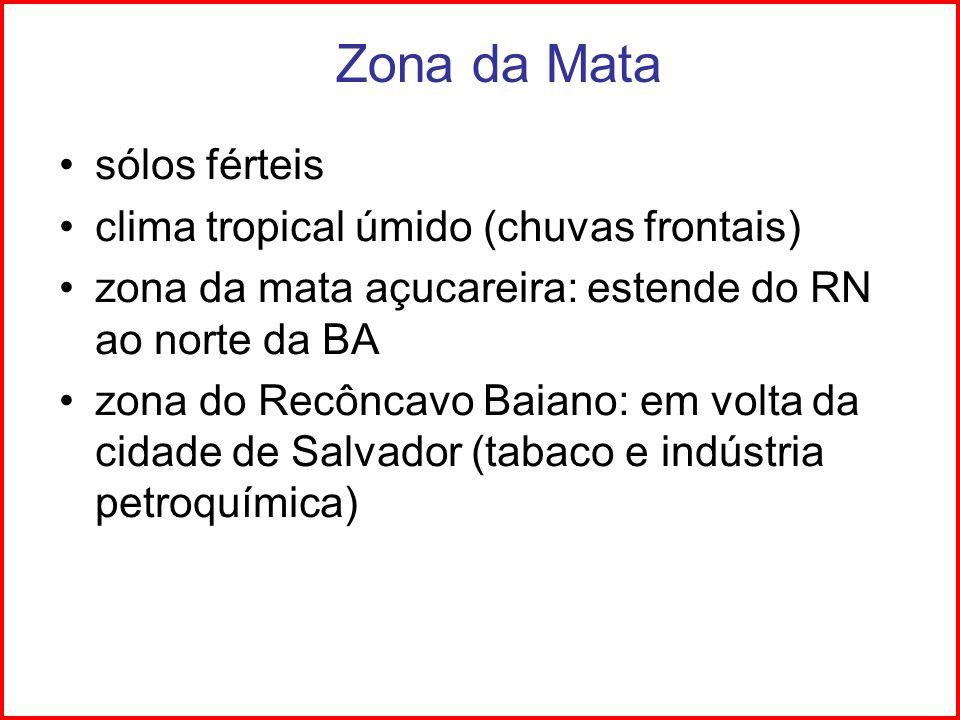 Zona da Mata sólos férteis clima tropical úmido (chuvas frontais) zona da mata açucareira: estende do RN ao norte da BA zona do Recôncavo Baiano: em v