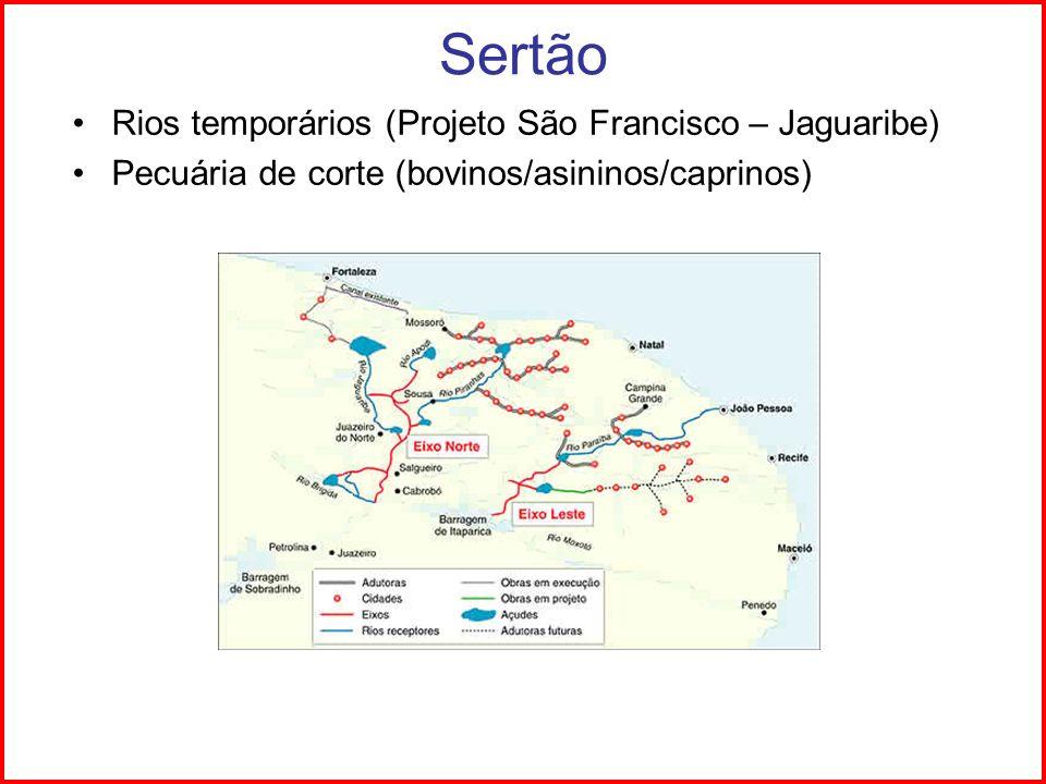 Sertão Rios temporários (Projeto São Francisco – Jaguaribe) Pecuária de corte (bovinos/asininos/caprinos)