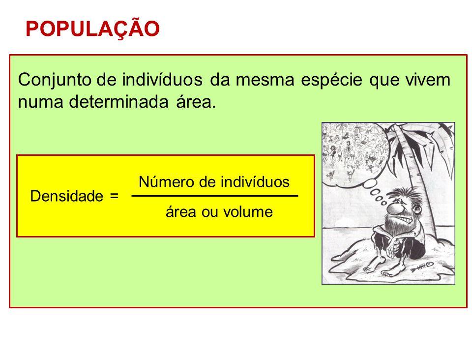 Conjunto de indivíduos da mesma espécie que vivem numa determinada área. POPULAÇÃO Densidade = Número de indivíduos área ou volume