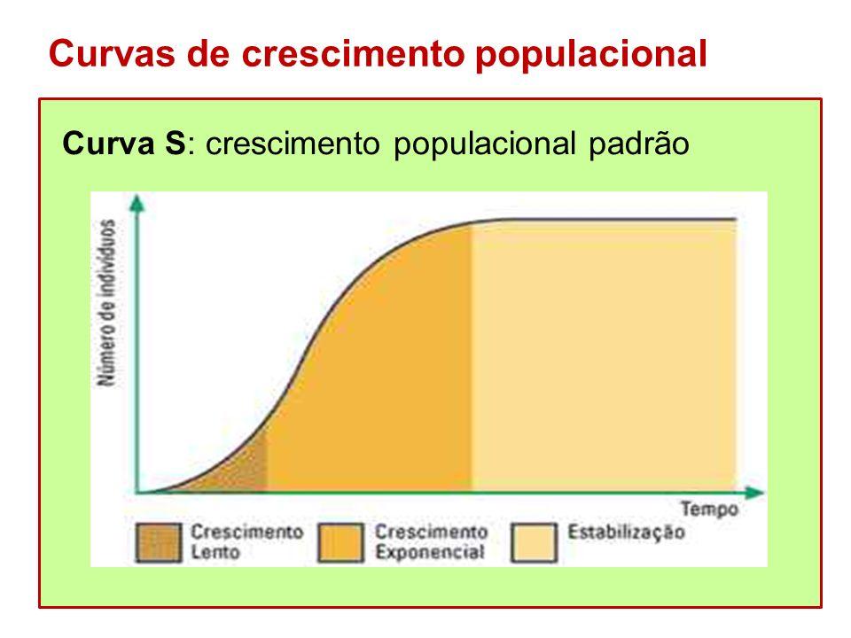 Curvas de crescimento populacional Curva S: crescimento populacional padrão