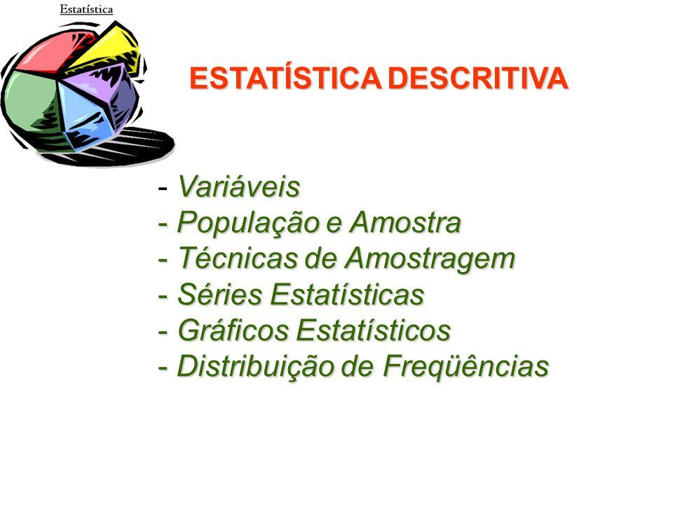 ESTATÍSTICA DESCRITIVA Variáveis - Variáveis - População e Amostra - Técnicas de Amostragem - Séries Estatísticas - Gráficos Estatísticos - Distribuiç