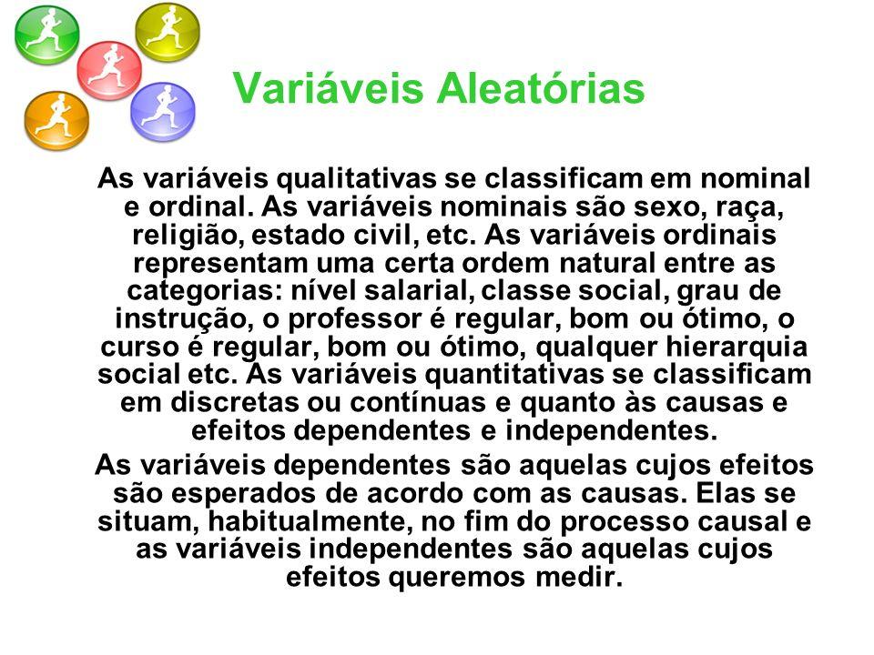 As variáveis qualitativas se classificam em nominal e ordinal. As variáveis nominais são sexo, raça, religião, estado civil, etc. As variáveis ordinai