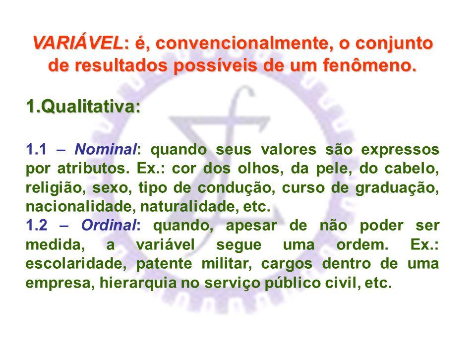 VARIÁVEL: é, convencionalmente, o conjunto de resultados possíveis de um fenômeno. 1.Qualitativa: 1.1 – Nominal: quando seus valores são expressos por