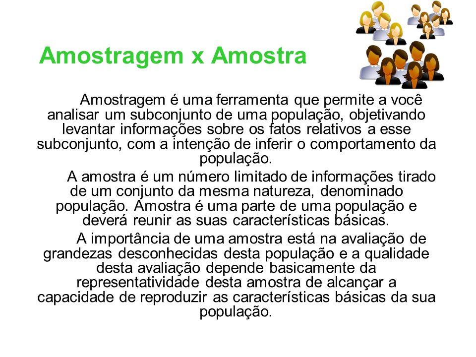 Amostragem x Amostra Amostragem é uma ferramenta que permite a você analisar um subconjunto de uma população, objetivando levantar informações sobre o