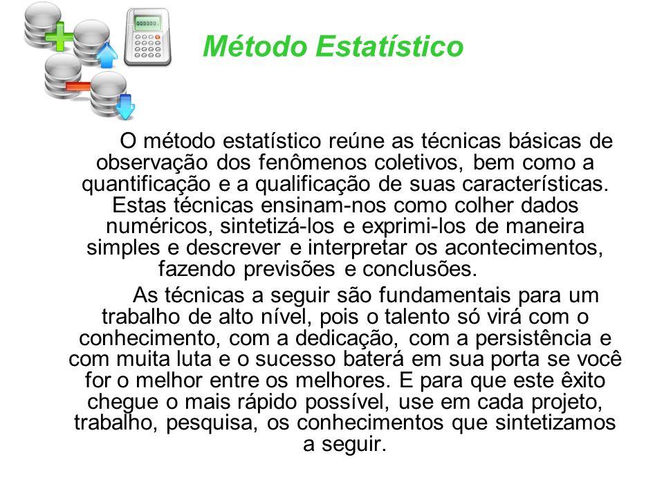 Método Estatístico O método estatístico reúne as técnicas básicas de observação dos fenômenos coletivos, bem como a quantificação e a qualificação de