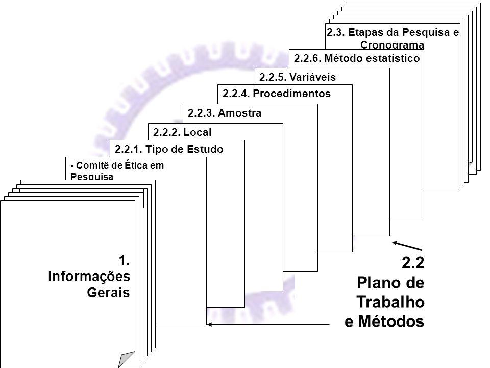 2.2 Plano de Trabalho e Métodos III. Documentação Complementar 2.3. Etapas da Pesquisa e Cronograma 2.2.6. Método estatístico 2.2.5. Variáveis 2.2.4.